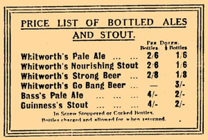 Price List of Bottled Ales and Stout